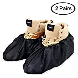 LINKEASE Reusable Boot & Shoe Covers Water Resistant Non Skid and Washable for Real Estate Contractors to Keep Floors Carpets Footwear and Rooms Clean-Black (2 Pairs)