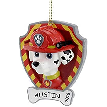 Dibsies Personalization Station Personalized Paw Patrol Kids Christmas Ornament Marshall