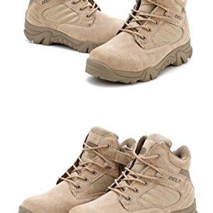 Hombre Militar de Tactical Deportes al aire libre de senderismo trabajo Combat Lace Up transpirable zapatos de cremallera en la parte superior Desert Piel Bajo Botas de Tan Caqui 1