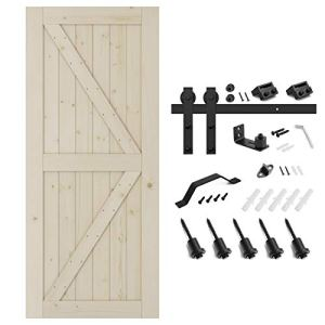 SMARTSTANDARD 36in x 84in Sliding Barn Door with 6.6ft Barn Door Hardware Kit & Handle, Pre-Drilled Ready to Assemble…