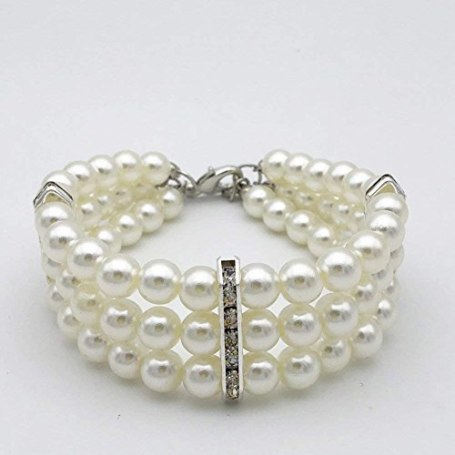 PetFavorites 3 Row White Pearls Diamond Dog Necklace Collar Jewelry with Bling Rhinestones for Pets Cats Small Dogs Girl Teacup Chihuahua Yorkie Clothes Costume Outfits 1