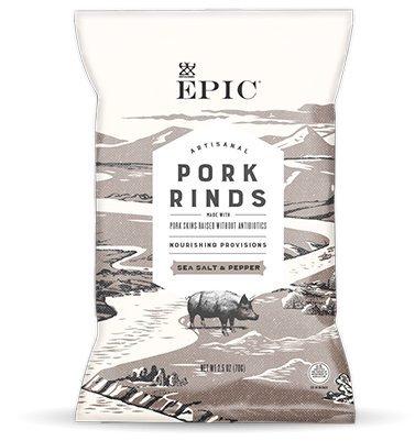 EPIC PORK RINDS AND CRACKLING Sea salt pepper rinds 2.5 OZ pack of 2