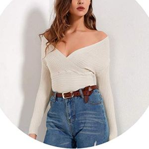 world-palm Long Sleeve Women Sexy Knitted Sweaters Women Wrap Tops V Neck Slim Off Shoulder Sweater
