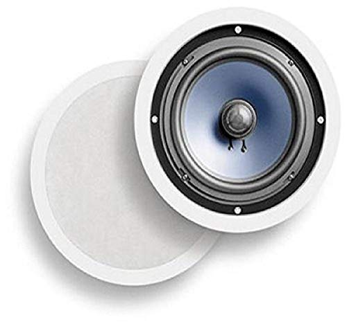 Polk-Audio-RC80i-2-way-Premium-In-Ceiling-8-Round-Speakers-Set-of-2-Perfect-for-Damp-and-Humid-IndoorOutdoor-Placement-Bath-Kitchen-Covered-Porches-White-Paintable-Grille