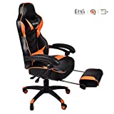 Ergonomic Computer Gaming Chair, Large Size PU Leather High Back Office Racing Chairs with Widen Thicken Seat and Retractable Footrest and Lumbar Support Video Game Chair 170 Degree Reclining (Orange)