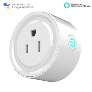 Kuled Smart Plug Mini Outlet, Compatible with Alexa, No Hub Required, WiFi Wireless Energy Monitoring, Remote Control Light Switch Socket, White