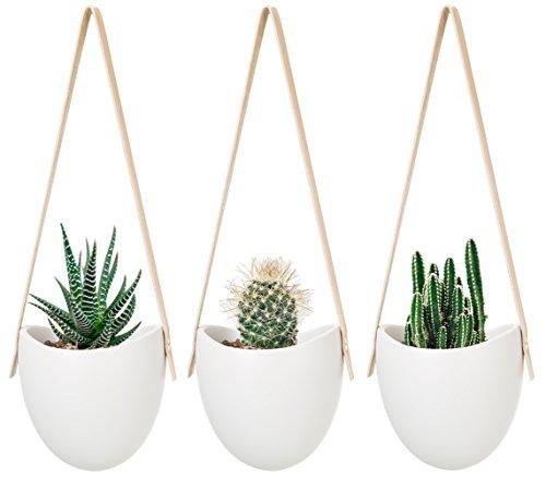 Ceramic Wall Flower Decor: Mkono Ceramic Hanging Planter Succulent Air Plant Flower
