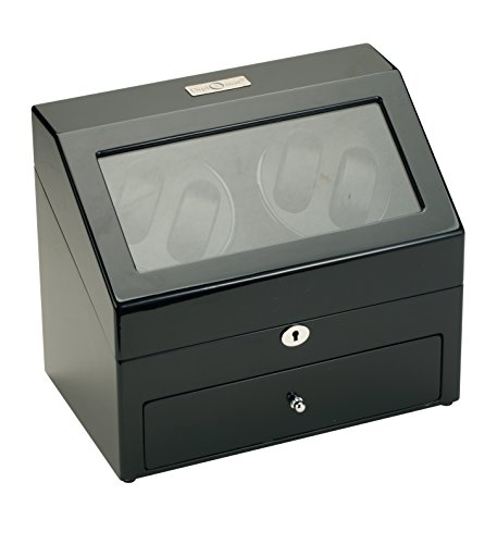 Diplomat Black Wood Quad Watch Winder with Black Leather Interior and 4 Program Settings