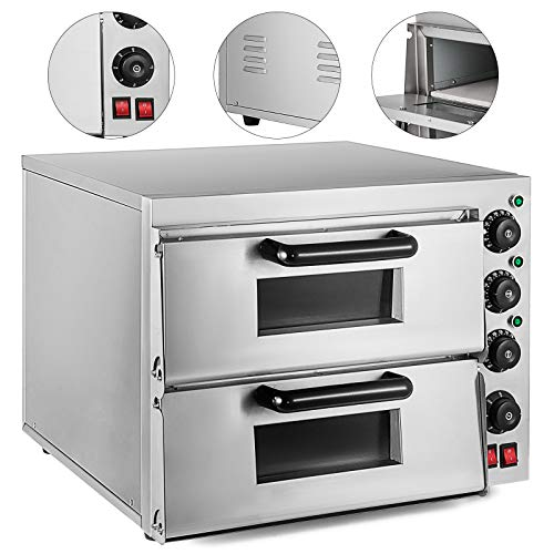 VEVOR Commercial Pizza Oven 3000W Stainless Steel Pizza Oven Countertop 110V Electric Pizza and Snack Oven 16 Inch Deluxe Pizza and Multipurpose Oven for Restaurant Home Pizza Pretzels Baked Dishes