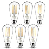 Vintage LED Edison Bulb, 6W, Equivalent 60W, Soft White 2700k, Non-Dimmable Filament Light Bulb, E26 Base, High CRI 95 Eye Protection Led Bulb, Clear Glass for Bathroom Kitchen Dining Room, Pack of 6
