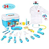 Lydaz Doctor Kit for Kids, 34 Pcs Pretend Play Kids Medical Kit Toys with Roleplay Costume for Boys Girls Toddlers Age 3 Years and Up