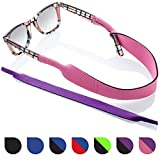 Glasses and Sunglasses Active Strap - 2 Pack | Anti-Slip and Fast Drying Sport Glasses Strap | Purple + Pink