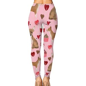 SDEYR79 Valentines Cute Cupcakes Chihuahua Women's Yoga Leggings Running Tights Sports Leggings