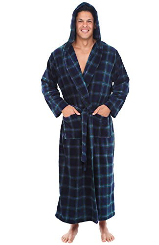 Alexander Del Rossa Men's Robe with Hood - Premium Fleece Bathrobe, Big and Tall, Large XL Blue and Green Plaid (A0125P23XL)