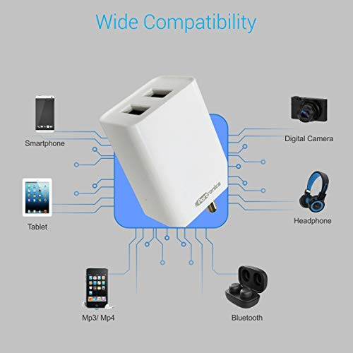 Portronics Adapto 36 USB Wall Adapter with 2.1A Quick Charging Dual USB Port + Micro USB Charging Cable for All iOS & Android Devices (White) 7