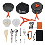 Bisgear 17Pcs Camping Cookware Stove Carabiner Canister Stand Tripod Folding Spork Set Outdoor Camping Hiking Backpacking Non-Stick Cooking Picnic Knife Spoon Wine Opener (17 pcs(Orange))