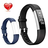 Lintelek Fitness Tracker, Slim Activity Tracker with Heart Rate Monitor, IP67 Waterproof Step Counter, Calorie Counter, Pedometer for Kids Women and Men (Black+Blue)