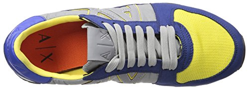 Mixed-material running-style sneaker featuring AX side logos with contrast trim and stamped Armani Exchange text Flexible sole Lace-up closure with flat laces