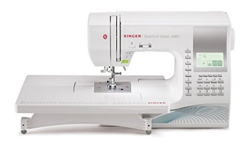 Singer Quantum Stylist 9960 Computerized Portable Sewing Machine with 600-Stitches, Electronic Auto Pilot Mode, Extension Table and Bonus Accessories, Perfect for Customizing Projects