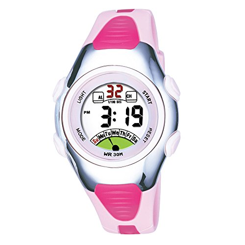 AZLAND Outdoors Sports Digital Girls Watches Multi Functions Led Water Resistant Kids Wrist Watches Pink