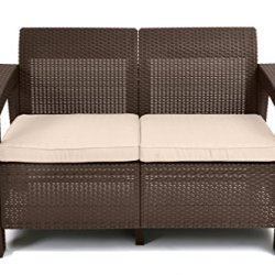Keter Corfu Resin Wicker Loveseat with Outdoor Cushions – Patio Furniture Perfect for Front Porch Décor and Poolside…