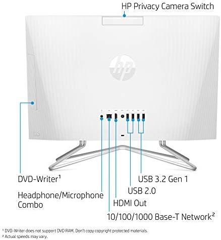 HP 22-inch All-in-One Desktop Computer, AMD Athlon Silver 3050U Processor, 4 GB RAM, 256 GB SSD, Windows 10 Home (22-dd0010, White), Snow White