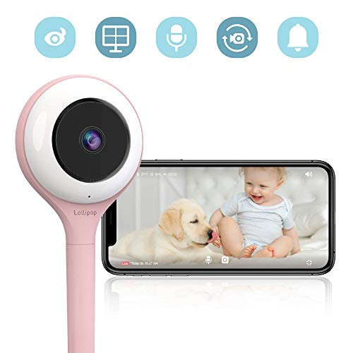 Lollipop HD WiFi Video Baby/Pet Monitor (Cotton Candy)- Supports 2 Cameras and Up, Night Vision, Noise & Crying Detection, 2-Way Talk Back, Wall Mount- Baby Boy Girl Shower Gift