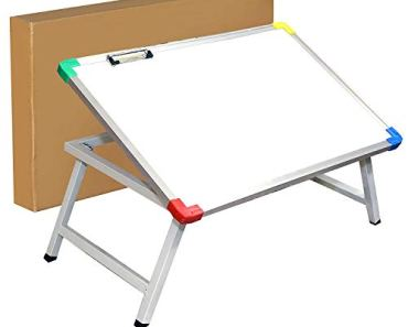 NISUN Multipurpose Foldable Laptop Table, Strong Heavy Duty Study Table for Children, Bed Table for Office or Work from Home with Whiteboard Paper Holding Clip (61 x 40.5 x 24 cm)