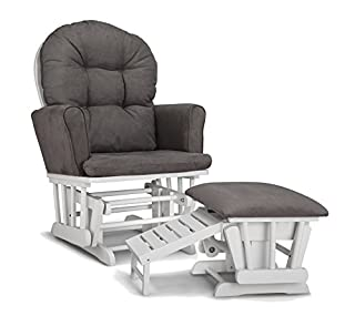 The Graco Parker semi-upholstered glider and nursing ottoman brings comfort, functionality and style to your home. The ottoman features a pull-out nursing stool that allows you to comfortably rest your feet during feeding time. When not in use, the n...