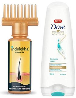 Indulekha Bhringa Hair Oil, 100ml And Dove Dryness Care Conditioner, 180ml