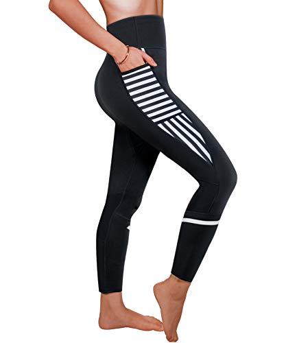 Ursexyly Women Sauna Weight Loss Sweat Pant Fashion Design Slimming Neoprene Hot Body Shaper Leggings (Black Sauna Pant, 2XL)