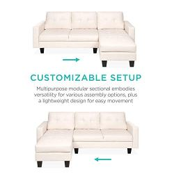 Best Choice Products 3-Seat L-Shape Tufted Faux Leather Sectional Sofa Couch Set w/Chaise Lounge, Ottoman Bench – White