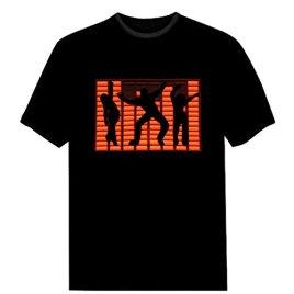 Tricandide Couple LED Flashing Audio Control T-Shirt Night Club Wear