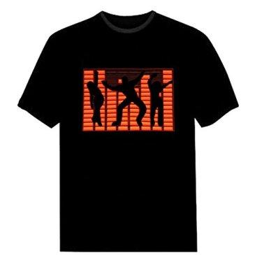 Tricandide Couple LED Flashing Audio Control T-Shirt Night C