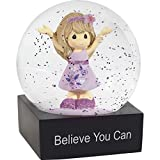 Precious Moments Believe You Can Girl In Floral Dress Resin Snow Globe 182102