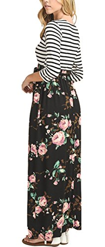 417lIEk6inL Size Guide: S=US 2-4,M=US 6-8,L=10-12,XL=14-16, XXL=US 18; Stretchy fabric,regular US size Unique Style: Stripes with floral bottom, Empire Waistline, Sexy Scoop Neck,Floor length maxi dress Occasion: Casual,formal party, wedding, banquet, dance ball ect.