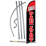NEOPlex -'Sale Black Friday' Complete Windless Feather Flag Kit - Includes 12' Windless Swooper Feather Business Flag with 15-Foot Anodized Aluminum Flagpole and Ground Spike
