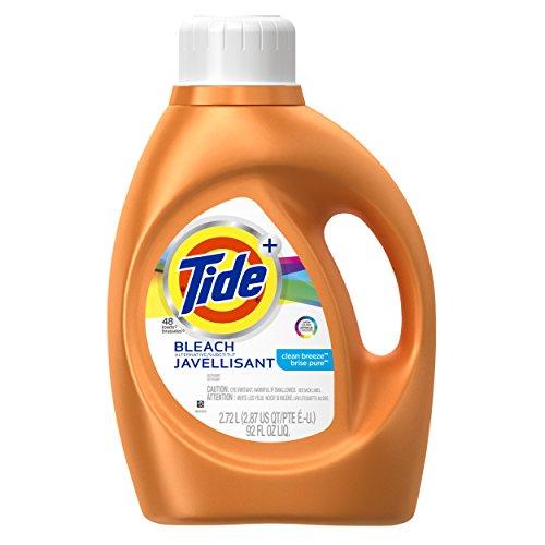 Tide Plus Bleach Alternative Clean Breeze Scent Liquid Laundry Detergent, 92 oz, 48 loads