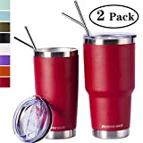 Zonegrace Wine Red 20oz and 30oz Insulated Tumblers with Lid & Gift Box | Stainless Steel Coffee Cup | Double Wall Vacuum Insulated Travel Coffee Mug with Splash Proof slid lid