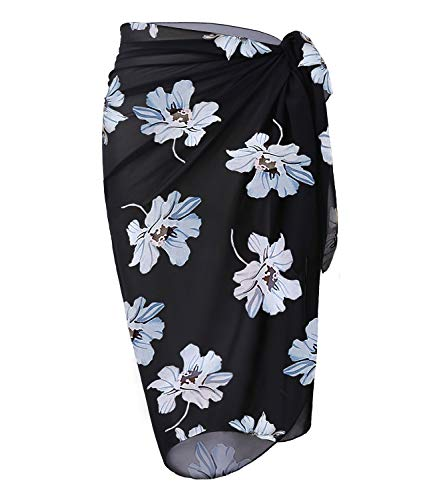 OmicGot Womens Swimwear Chiffon Cover up Floral Prin Beach Sarong Swimsuit Wrap Skirts BlackGrey Flower Middle Plus Size