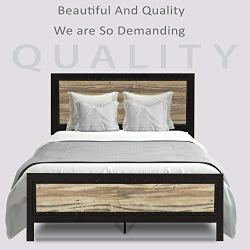 Allewie Queen Size Metal Platform Bed Frame with Wooden headboard and Metal slats/Rustic Country Style Mattress Foundation/No Box Spring Needed/Strong Metal Slats Support/Easy Assembly