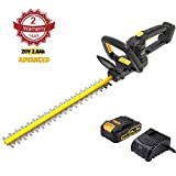 TECCPO Hedge Trimmer, 20V High Performance Cordless Hedge Trimmer, 20-Inch Blade Length, 3/4-Inch Cutting Thickness, Battery and Charger Included - TDHT02G