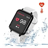 Smart Watch for Android and iOS Phones with Heart Rate & Blood Pressure Monitor, Sleep Monitort, Information Reminder & Rtep Counter Waterproof Fitness Tracker for Men, Women and Kids
