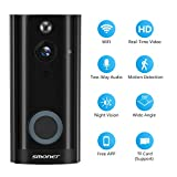 Doorbell Camera Wireless, SMONET WiFi Smart Doorbell, HD Security Camera with Two-Way Audio, Real-Time Video, Night Vision, Phone Ring, Free App for iOS and Android (Black)