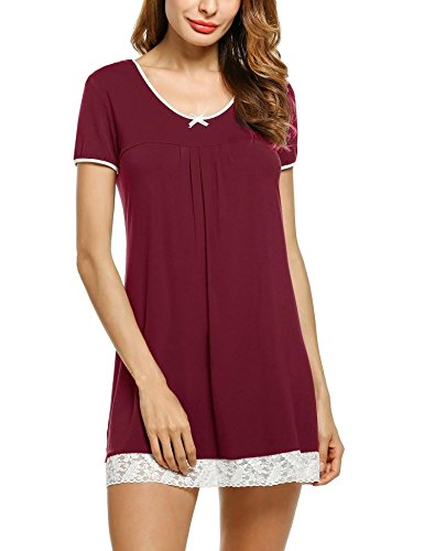 HOTOUCH Sleep Shirts for Women Soft Night Shirt Sexy Nightgown Sleep Dress Plus Size Pajamas Wine Red L