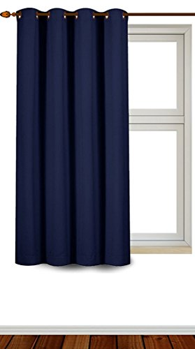 Blackout Room Darkening Curtains Window Panel Drapes - Navy Color 1 Panel - 52 inch wide by 63 inch long each panel 8 Grommets / Rings per panel, 1 Tie Back included- By Utopia Bedding