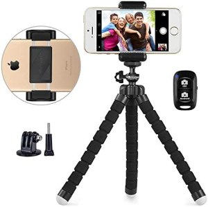 Phone Tripod, UBeesize Portable and Adjustable Camera Stand Holder with Wireless Remote and Universal Clip, Compatible with Cellphones, Sports Camera