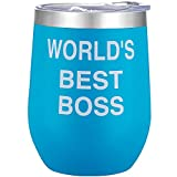 World's Best Boss - 12oz Stainless Steel Insulated Coffee Wine Glass Tumbler with Lids - Personalized Funny and Inspirational Gifts for Female Male Boss Coworker(Blue)