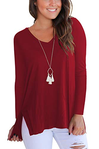 FAVALIVE Long Sleeve T Shirts for Women V Neck Tunic Tops Plus Size Tee Shirt Burgundy 2XL