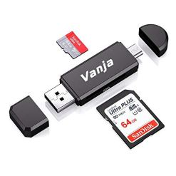 4182e8NZtQL - Vanja Micro USB OTG Adapter and USB 2.0 Portable Memory Card Reader for SDXC, SDHC, SD, MMC, RS-MMC, Micro SDXC, Micro SD, Micro SDHC Card and UHS-I Card